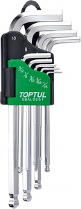 BALL HEX KEY: 9PC SAE LONG TOPTUL