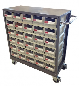 STEEL PARTS CABINET: 30 DRAW H/DUTY MOBILE NHD-530