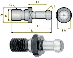 PULL STUD: P30T-1 BT30 M12 MAS 45DEG