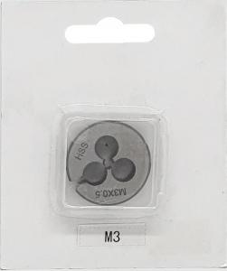 DIE: ROUND M3 X 0.5 METRIC CARDED