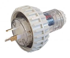 STRAIGHT PLUG: 250V 15A 3 PIN FLAT PINS IP66  MALE