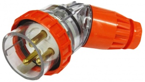 ANGLE PLUG IP66: 250V 32A 3 ROUND PINS MALE