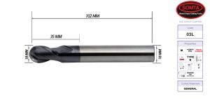 BALL NOSE: CARBIDE COATED 18.0MM 2FL STD (SOMTA)