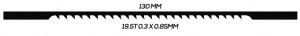 SCROLL SAW BLADE: 130MM 19.5T 0.3 X 0.85MM UNPINNED 20 PACK
