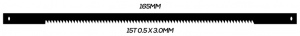 SCROLL SAW BLADE: 165MM 15T 0.5 X 3.0MM PINNED 10 PACK