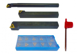 LATHE TOOL SET: 3PC 10.0MM SHANK BLACK