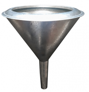 FUNNEL: W/GAUZE  200MM STRAIGHT STEM GALV METAL