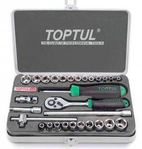 SOCKET SET: TOPTUL 29PC X  1/4