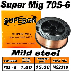 MIG WIRE: 70S-6 1.0MM SUPERON 15KG SPOOL