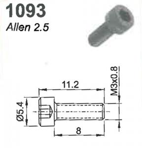SCREW (ALLEN 2.5) M3X0.8X8 #1093