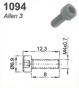 SCREW(ALLEN 3)M4X0.7X8mm #1094