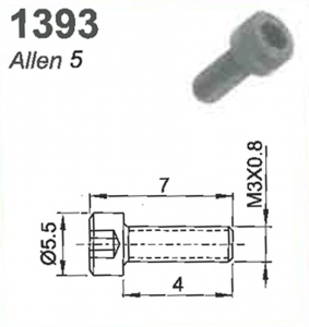SCREW(ALLEN 5)M3X0.8X7MM #1393