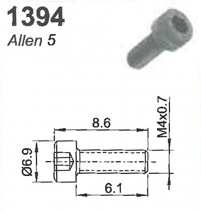 SCREW(ALLEN 5)M4X0.7X8MM #1394