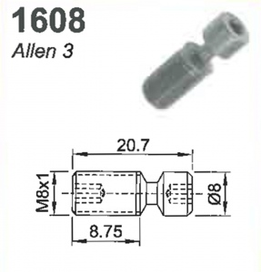 SCREW: M8 X 1.0 X 8.75MM #1608  (ALLEN 3)