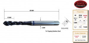 BLUE BAND TAP: M6 X 1.0 SPIRAL FLUTE