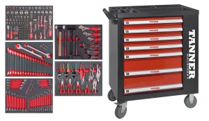 ROLLER TOOL CHEST: 7 DRAWS W/TOOLS 163PCS