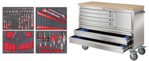 ROLLER TOOL CHEST: 7 DRAWS S/STEEL W/TOP 153PC TOOLS