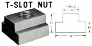 TEE SLOT NUT:  9.7MM SLOT -  M8 X 1.25