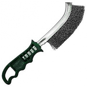 SCRATCH BRUSH: HAND 1 ROW STAINLESS STEEL-GREEN