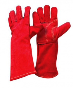 GLOVES: GAUNTLET LEATHER, WELDING  A GRADE RED