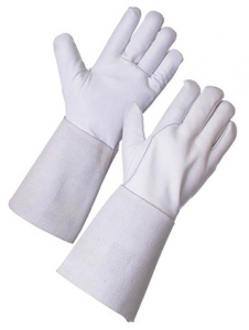 GLOVES: GAUNTLET LEATHER, WELDING GREY