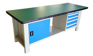 WORK BENCH: 2100 X 750MM H/DUTY + 1 X 4 DRAW + CABINET