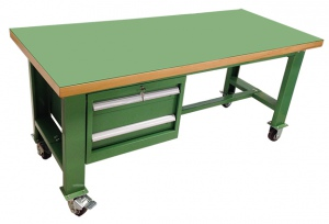 WORK BENCH: 1800 X 750MM  + 1 x 2 DRAW STEEL TOP H/DUTY