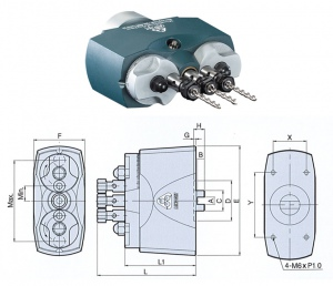MULTI HEAD:  3 SPINDLE 14.0 -88.0MM LONG GER (LINEAR)