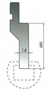 RADIUS BAR HOLDER H=105MM