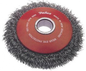 BEVEL WIRE BRUSH: 100MM 22MM BORE HSD100 CRIMPED